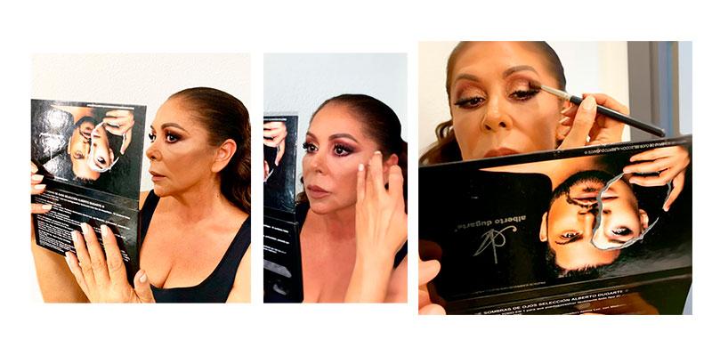 Isabel Pantoja Maquillandose con la Paleta de Sombras Todo en 1 profesionale